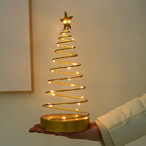 2pcs Led Spiral Christmas Tree Light Tabletop Light Up Spiral Tree with Star Topper Decorative Xmas Tree Figurine Lighted Ornament Holiday Atmosphere Night Lamp