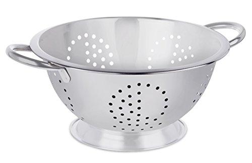 BirdRock Home Round Stainless Steel Colander  Self Draining Pasta Bowl  Kitchen Food Washing Strainer  Wide Grip Handles  Medium