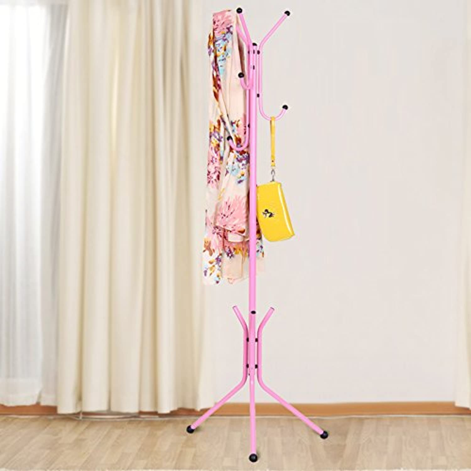 Bedroom Living Room Office Coat Rack Fashion Iron Floor Coat Rack Clothing Rack Home Triangular Hangers,Pink