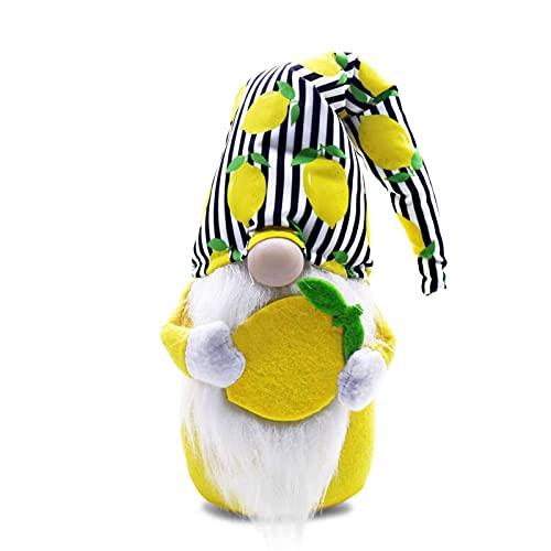 lefeindgdi Muñeca de felpa, muñeca de felpa de limón, duende sin rostro, muñeca enana clásica a cuadros, suave y cómoda para niños de la familia