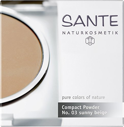 SANTE Naturkosmetik Compact Powder Nr.03 Golden beige, Dunklerer Hautton, Perfektes Finish durch Mineralpigmente, Sanft mattierter Teint, 9g