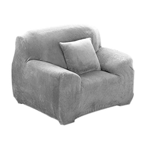 INMOZATA Sofa Cover High Stretch Soft Fur Velvet Sofa slipcovers Protector 1 2 3 Seater Couch Covers for L Shape Sofa Tub Chairs Love Seat,90-140cm (Sliver Grey)