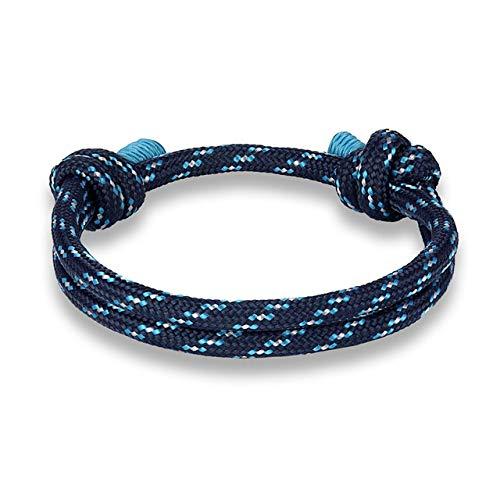 LKJH Moda de Verano for el Tobillo Deportes Cuerda Pulsera de la Supervivencia Trenzado Pulseras del Abrigo Lucky Amante Coloful Hombres Mujeres (Metal Color : Blue)