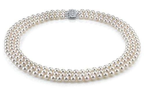 Collana in oro 14 K, 6,0 – 6,5 mm, con perle giapponesi Akoya bianche coltivate a triplo filo, qualità AAA, 16 – 43,2 – 45,7 cm e Oro giallo, colore: Oro/Bianco., cod. 1