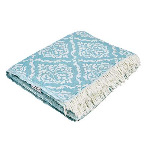 Carenesse Tagesdecke King Size BAROCK Petrol 260 x 260 cm, 100% Baumwolle, leichte dünne beidseitig schöne Decke mit kurzen Fransen, Überwurf für Bett Sofa und Couch, Tischdecke, Dekodecke