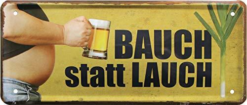 Bauch statt Lauch. Bierbauch 2120 Plaque décorative en tôle Motif bière 28 x 12 cm