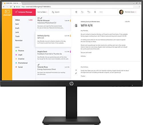 HP P24h G4 (23,8 Zoll / Full HD 75Hz) Business Monitor (Micro-Edge, entspiegelt, 5ms Reaktionszeit, neigbar, schwenkbar, VGA, BildschirmPort, HDMI, Lautsprecher) schwarz