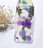 Crystal_phonecase Handmade Pressed Dried Natural Real Flower Protective Clear Case for Samsung Galaxy S5 S6 S7 S8 S9 Note34589 (Purple Flower, Samsung S7 Edge)