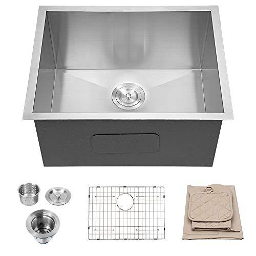 "Laundry Utility Sink - Lordear 23"" x 18"" x 12"" Deep Laundry Room Sink Undermount Single Bowl 18 Gauge Stainless Steel Sinks"