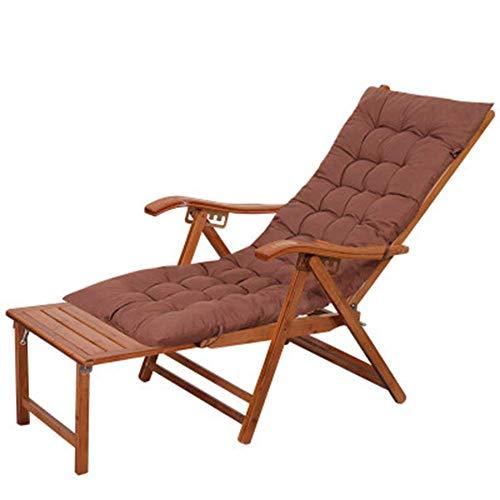 Po Liegestuhl Klappbar Bambus Gartenliege Sonnenliege für den Balkon Terrasse Outdoor mit Ausziehbarer Fußstütze Gebogener Kopfstütze, Kissen Erhältlich