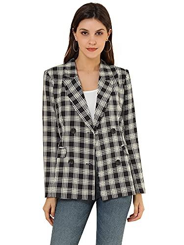 Allegra K Chaqueta de mujer con solapa con muescas de doble botonadura a cuadros de trabajo formal chaqueta, Negro, 36