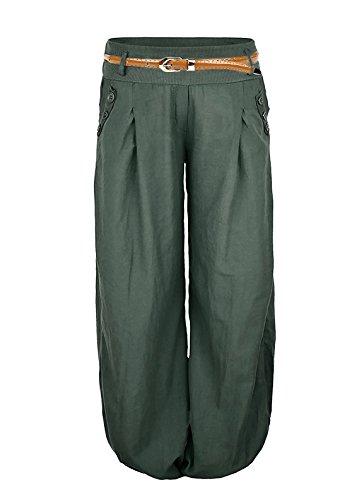 Cindeyar Pantalones largos de lino con cinturón Aladin para mujer Verde militar. M