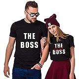 The Boss The Real Boss Couple Coppia T-Shirt,Maglietta a Maniche Corte in Cotone,Idea Regalo per San...