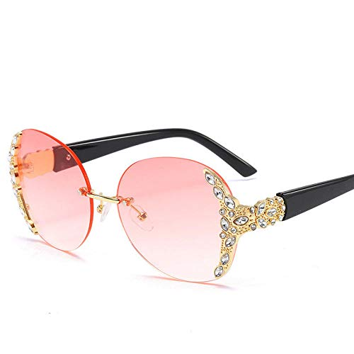 hqpaper Gafas de sol sin marco Hipster Lady Gafas de sol Grandes gafas de sol de diamante