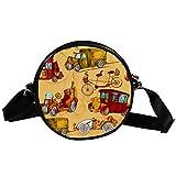 Runde Crossbody Tasche Kleine Handtasche Damen Mode Schultertaschen Messenger Bag Canvas Tasche Hüfttasche Zubehör für Frauen - Retro Transport Werkzeuge Auto Oldtimer Autos Fahrrad