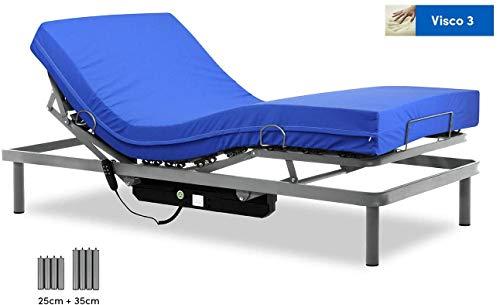 Gerialife Cama articulada con colchón Sanitario viscoelástico Impermeable...