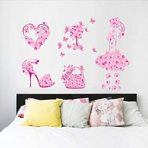 TYKCRt Wall Sticker Colorful Flower Girl Bag Shoes Butterfliess Fior Kids Rooms Heartdecals Girl