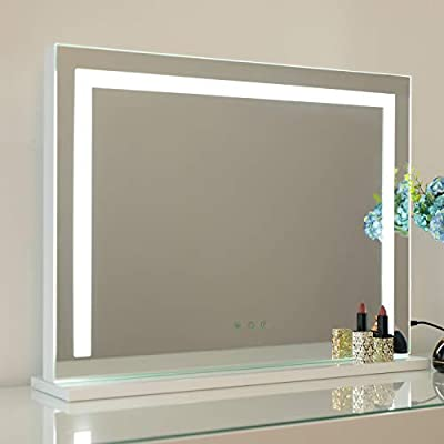 WAYKING Vanity Mirror with Light Strip, Lighted Makeup Mirror with 3 Lighting Colors, USB Charging Port and Touch Sensor, Wall-Mounted and Tabletop Mirror, (L22.83 x H17.32 inch)