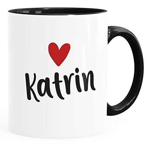 SpecialMe® Kaffeetasse mit Namen und Herz personalisierbares Motiv individuelles Geschenk Liebe beste Freundin Inner-Schwarz Keramik-Tasse