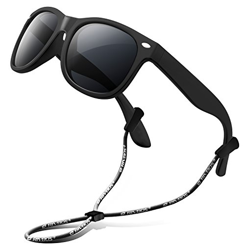 RIVBOS Rubber Kids Polarized Sunglasses With Strap Glasses Shades for Boys Girls Baby and Children Age 3-10 RBK004 W Black