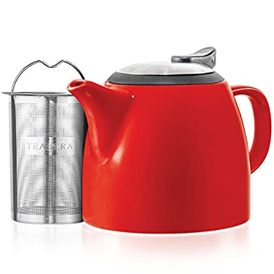 Tealyra - Drago Ceramic Small Teapot Red - 22oz (2-3 cups) - With Stainless Steel Lid and Extra-Fine Infuser for Loose Leaf Tea - Lead-free - 650ml