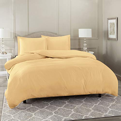 Nestl Bedding Duvet Cover 3 Piece Set – Ultra Soft Double Brushed Microfiber Hotel Collection – Comforter Cover with Button Closure and 2 Pillow Shams, Camel - Queen 90'x90'