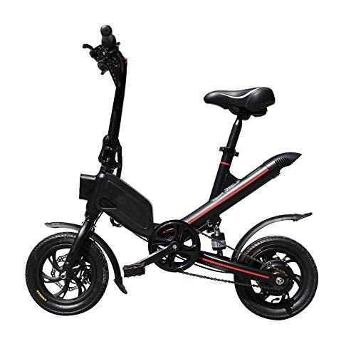 KNFBOK Pedelec - Bicicleta eléctrica plegable para adulto, batería de litio de 12 pulgadas, doble disco LCD, para exteriores, color negro