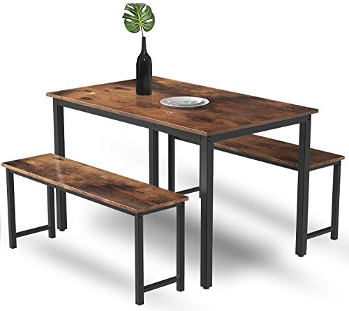 MIERES 3-Piece Dining 2 Modern Kitchen Metal Frame and MDF Board, Breakfast Nook Table Set, Bench Length of 41.3', Industrial Brown