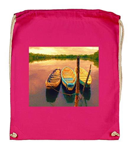 Druckerlebnis24 - Bolsa de tela de algodón orgánico, diseño de barcos, color rosa, tamaño talla única