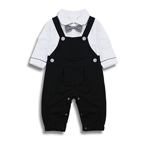 TNYKER Baby Boy Outfits Clothing Set Toddler Jumpsuit Romper Onesie With Bowtie & Strap