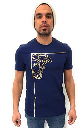 Versace Collection Männer T-Shirt Rundhals Baumwolle - Kurze Ärmel - Erhältlich in Schwarz, Weiß und Blau mit Goldener Verzierung - 100% Italienischer Stil (Dunkelblau, M)