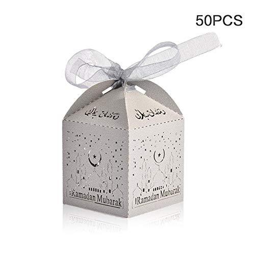 Makluce 50PCS huwelijkscadeaudozen Candy Cupcake Box bewaardoos bonbondoosje ambachtelijk papier cadeaubox voor islamitische moslim