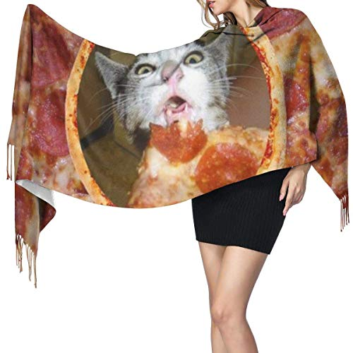 Pizza gato moda mujer chal largo arte océano ballena jorobada bufanda de cachemira invierno cálido bufanda grande caja de regalo