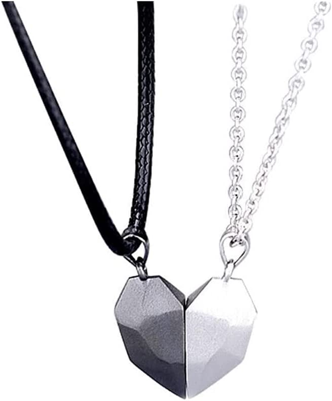 Matching Necklaces for Couples Magnet Necklace for Best Friend Necklaces for 2 Magnetic Half Heart Necklace for Couples