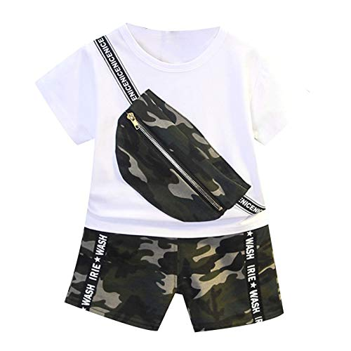 YUUMIN Kinder Baby Junge Sport Set Fitness Kurzarm Crop Top Mit Camouflage Taschen Elastisch Army Kurze Hose Leggings Mit Buchstaben Print Sommer Outfits Weiß 80-86