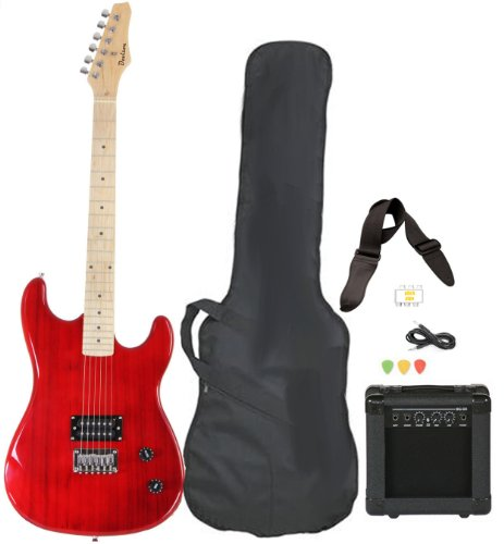 Davison Guitars Full Size Black Electric Guitar with Amp, Case and Accessories Pack Beginner Starter Package Red Right Handed