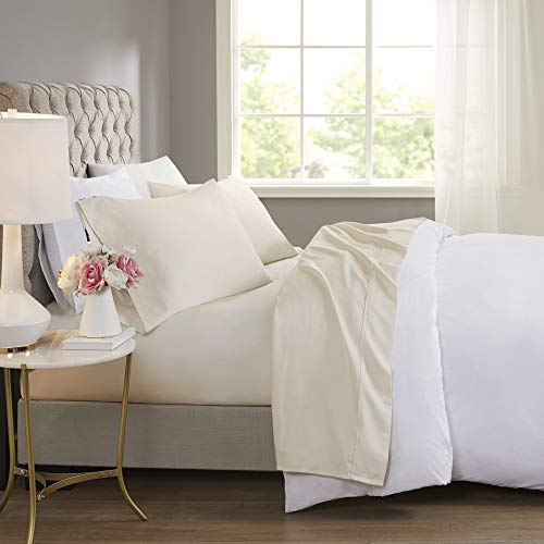Beautyrest BR 600 TC Cooling Cotton Blend Solid Sheet 16 Inch Deep Pocket Hypoallergenic, All Season, Soft Bedding-Set, Matching Pillow Case, King, Ivory 4 Piece