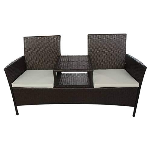 vidaXL Gartensofa mit Teetisch Tisch 2-Sitzer Gartenbank Gartenmöbel Gartenset Sitzgruppe Sofa Lounge Sitzbank Stuhl Poly Rattan Braun