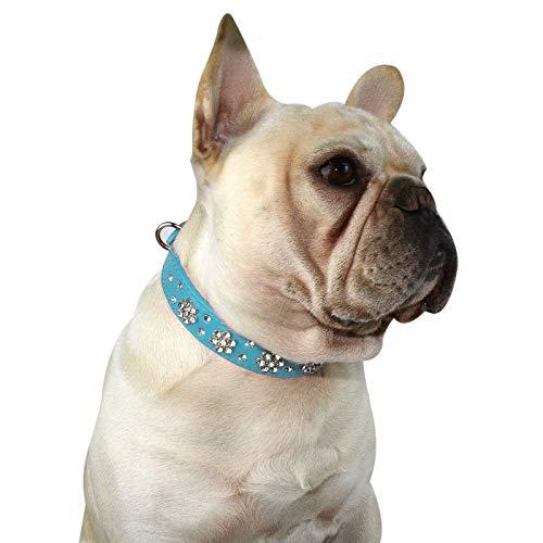 Hifrenchies Cute Rhinestone Flower Pattern Studded Dog Collars, PU Leather Bling Crystal Diamonds Collar for Frenchie Bulldog / Small Medium Dog Cat(M,Blue)