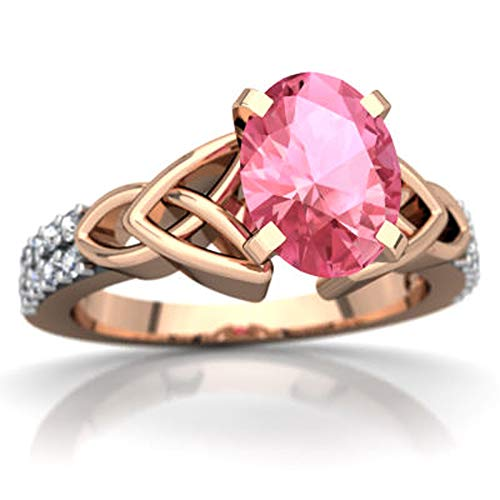 Celtic Knot Valentine Day Engagement Ring 0.99 CTW Oval Cut Pink Sapphire & White CZ Diamonds 14K Rose Gold Fn (13)