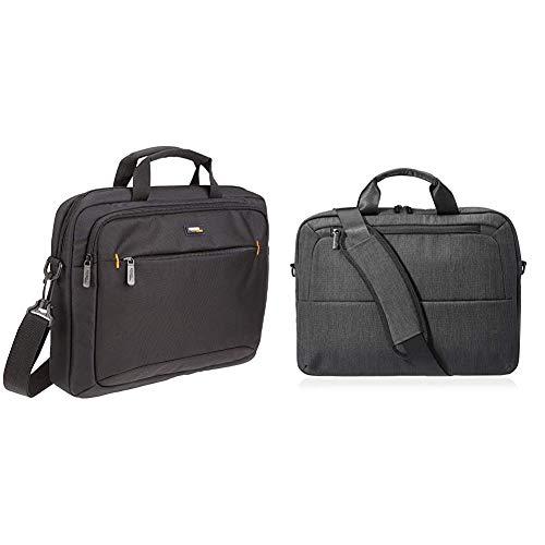 AmazonBasics 14-Inch (35.6 cm) Laptop MacBook and Tablet Shoulder Bag Carrying Case, Black, 1-Pack & 39.62 cm Laptop Bag Professional - Black