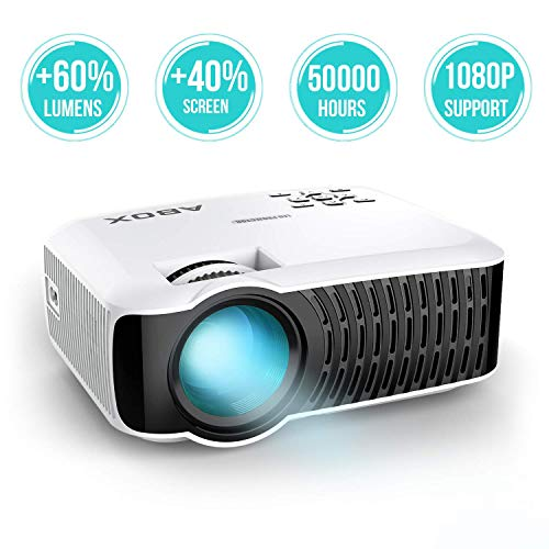 2018 Newest GooBang Doo ABOX T22 Mini Portable Projector,1080p HD Multimedia Home Theatre LCD Projector Support Keystone Correction and HDMI...