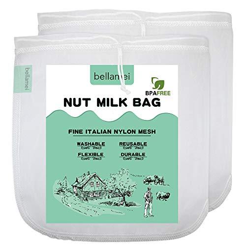 "Bellamei Nut Milk Bags Reusable Food Strainers Nut Bags For Almond/Soy Milk Greek Yogurt Professional for Cold Brew Coffee Tea Beer Celery Juice Fine Nylon Mesh (2 pack - 12""x12"")"