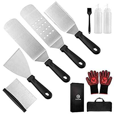 FOXCESD Griddle Accessories Kit 11 Pieces Barbecue Tools Set - Heavy Duty Scraper Spatula Turner Brush and Bottles, BBQ Gloves, for Flat Top Grill Hibachi BBQ Camping Cooking