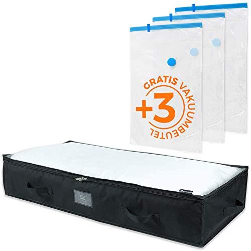 Goodington Unterbettkommode +3 Vakuumbags | 75% mehr Stauraum | Große Unterbett Aufbewahrungstasche für Bettdecken, Kissen, Kleideraufbewahrung & Schuhe | 100 x 48 x 18 cm