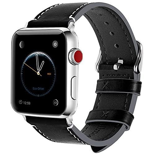 JIAOXIAOHUI Strap per Orologio Apple 44mm 42mm, Cinghia di Cera in Pelle Cinghia Iwatch per Apple Watch Serie SE 6 5 4 3 2 1, 42mm 44mm Nero + Fibbia di cannocchiale Cinturino per Orologio