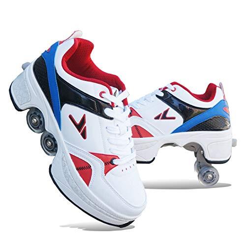 SHANGN Rollschuhe Madchen Verstellbar Rollschuhe Verstellbar Kinder Inline-Skate, 2-in-1-mehrzweckschuhe, Verstellbare Quad-rollschuh-Stiefel,Blue-31