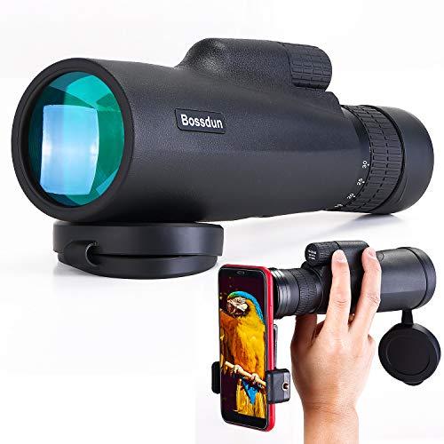 10-30x50 Monocular para Adultos, HD Monocular Telescopio Resistente Al Agua con Soporte para Teléfono Inteligente Trípode para Observación de Aves, Excursiones, Senderismo, Caza, Acampada, Viajes