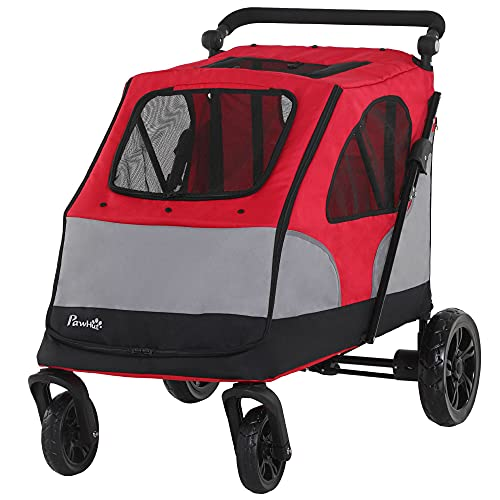 PawHut Dog Stroller Foldable Pet Trolley Pushchair Carrier Adjustable...