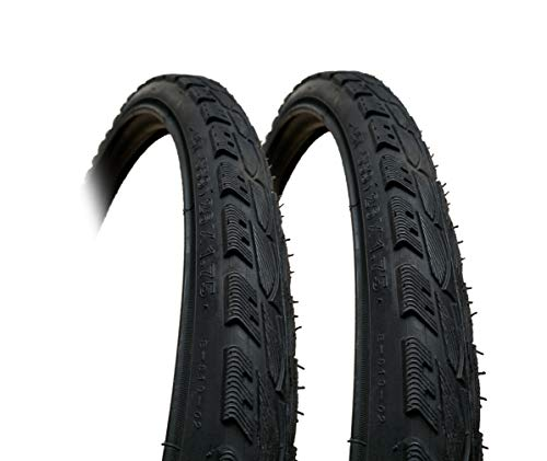 2 Pack -26 x 1.75 Semi-Slick Mountain Bike Tyres - Smooth Fast Rolling centre with raised edges (47-559)